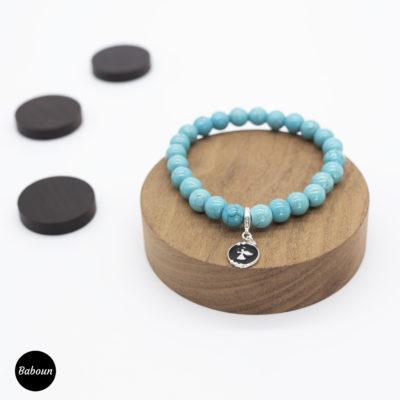 Bracelet perles turquoise petit Ange charm
