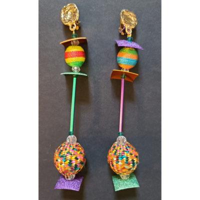 Boucles d'oreilles perles multicolores