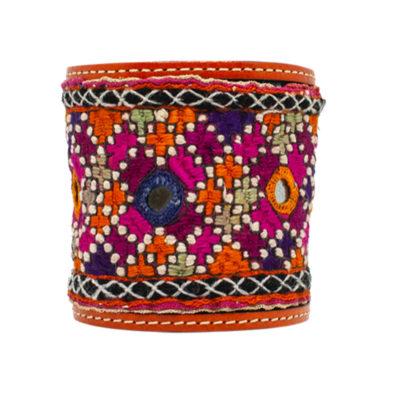 Manchette  réglable tissu ancien Afghan