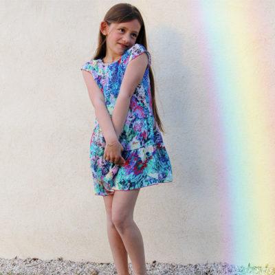 Robe Arya Floral bleu et lilas – Enfant