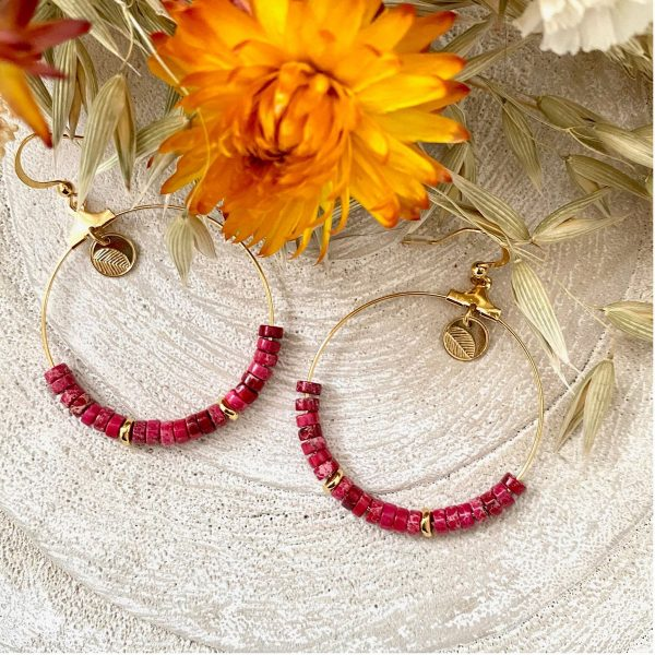 LES BIJOUX DE CARLA - Boucles d'oreilles - Créoles avec perles naturelles - jaspe impériel fushia
