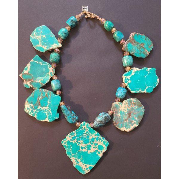 MISSBACK Collier chrysoprase et turquoise