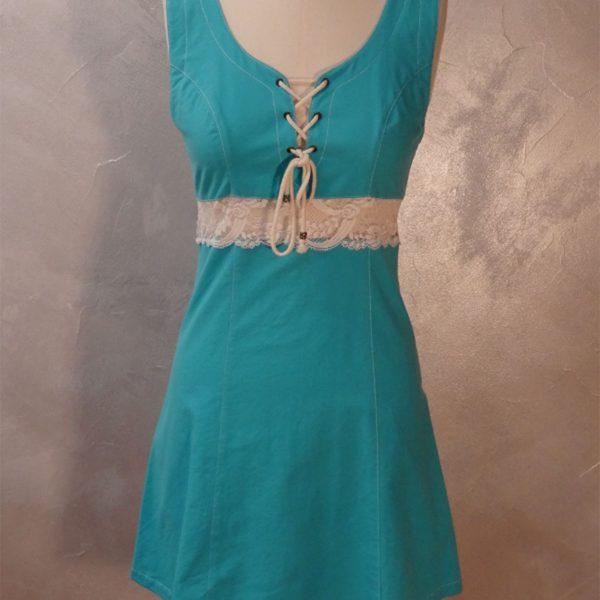 Pakomtoa robe chasulable turquoise avec dentelle
