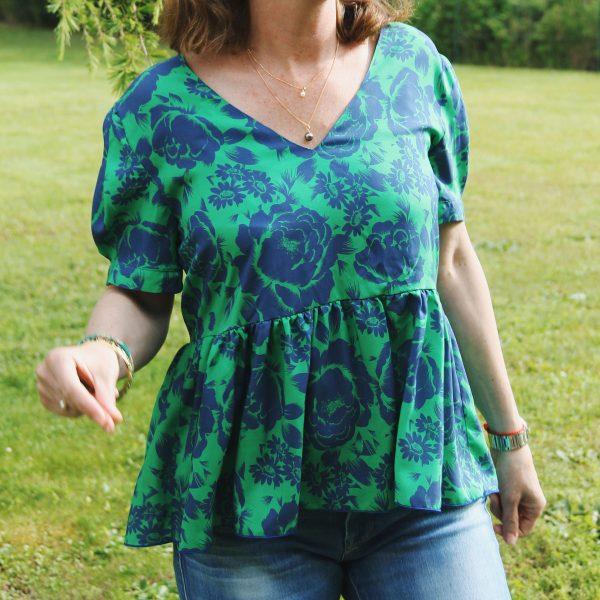 TITALEE blouse MEERA Maxi fleurs bleu vert (1)