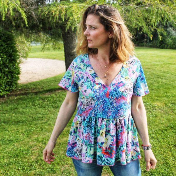 TITALEE blouse PAPILLON floral bleu lilas (1)