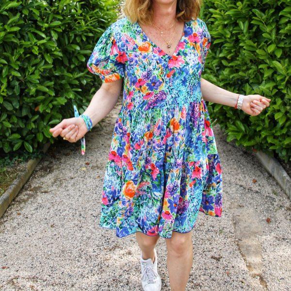 TITALEE robe MEERA manche ballon fleuri indigo (1)