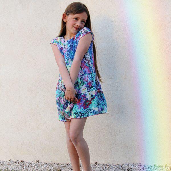 TITALEE robe fille LALITA floral bleu lilas (7)